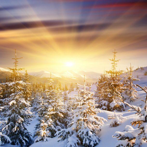 Sunrise over Snowy Mountain